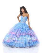 New Fashion Princess Rainbow Colored Quinceanera Dresses Ball Gown Organza Bule and Pink Sweetheart Free Shipping PF39