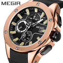 Buy New MEGIR Chronograph Mens Watches Top Luxury Brand Clocks Military Army Sport Clock Rubber Strap Quartz Men Male Watch Box 2053 for $25.90 in AliExpress store