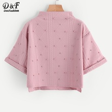 Dotfashion Mock Neck Beading Embossed Cute Sweatshirt Female Pink High Low Pullovers Autumn Half Sleeve Sweatshirt(China)