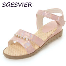 SGESVIER shining PU material 4cm wedges woman cozy sandals string bead decorated vamp woman shoes pink white blue shoes VV415