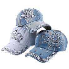 hot wholesale 2016 spring summer autumn popular women girl woman denim snapback cap rhinestone cross fitted baseball caps hats