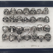 5pcs/pack Biker Skull Rings Man/Woman size 11 Jewelry Retro Men's Punk Smooth Middle Knuckle Ring(China)