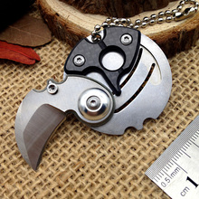 Serge Creative pocket knife karambit coin claw key tactical folding Knives neck hawkbill Stainless Steel Blade Carbon Fiber Tool(China)