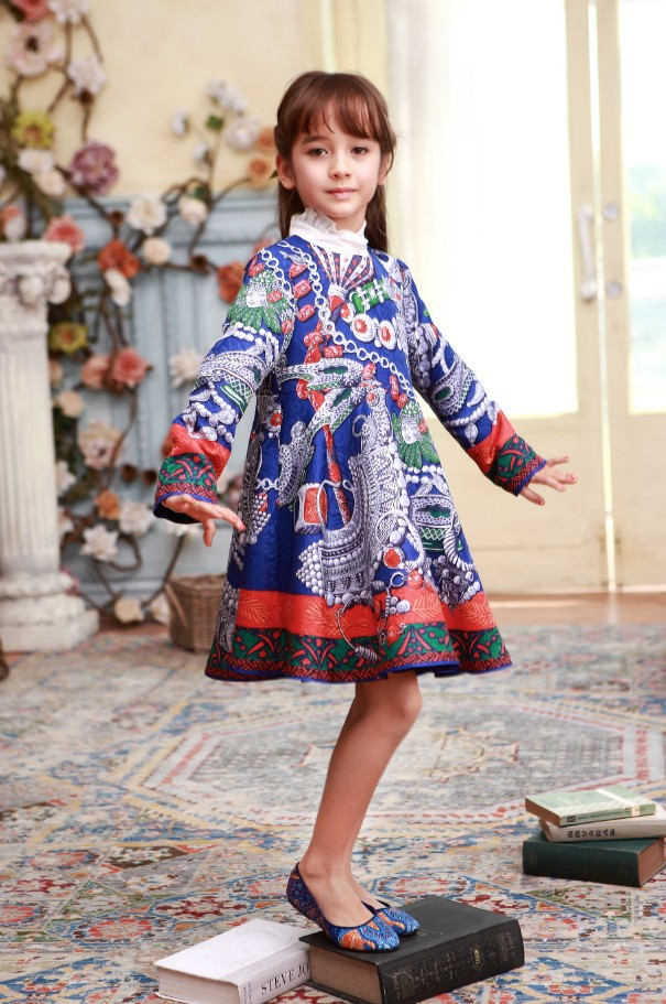 Kids Girls Dress Winter Print Full Princess Dress Luxury Brand Girls Dobby Print Dresses Frocks<br><br>Aliexpress