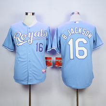Uomo MLB KANSAS CITY ROYALS BO JACKSON Eric Hosmer Salvador Perez Jersey(China)