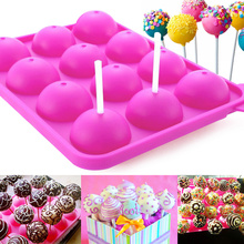 12 Holes DIY Silicone Cake Pop Mold Chocolate Cookie Sphere Cupcake Lollipop Tools Mould Baking Ice Tray Mold Decor Baking Molds(China)