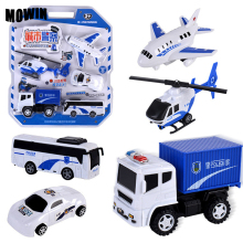 MOWIN 5pcs/lot City Police Toy Vehicles Model Boys Diecasts Juguete Car Model Auto Helicopter Collection Toys Birthday Surprise