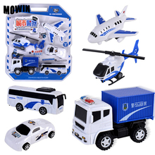 MOWIN 5pcs/lot City Police Toy Vehicles Model Boys Diecasts Juguete Car Model Auto Helicopter Collection Toys Birthday Surprise(China)