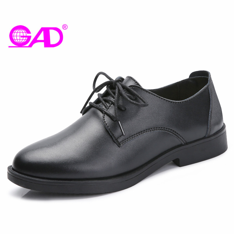 GAD Genuine Leather Women Oxford Shoes British Style Round Toe Lace-up Women Office &amp; Career Shoes Superstar Flat Shoes Women<br>