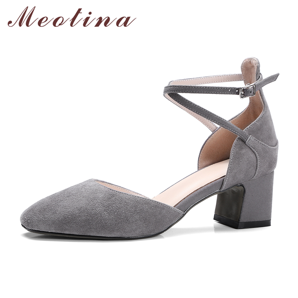 Meotina Shoes Women Pumps Suede Real Leather Ankle Strap Med Thick Heel Shoes Cross Tied Two Piece Party Pumps sapatos femininos<br>