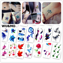 Colorful Ocean Fish Flower Body Art Sexy Harajuku Waterproof Temporary Tattoo For Man Woman Henna Fake Flash Tattoo Stickers