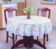 PVC Pastoral round table cloth waterproof non wash plastic pad plus velvet anti hot coffee tablecloth(China)