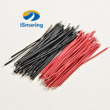 Official iSmaring 10pcs/lot 6cm Black/Red Electronic Wire Motherboard Breadboard Jumper Cable Tinned Welding(China)