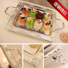 Metal Plate With Silver Afternoon Tea Set A Snack Tray European Hotel Ktv Fruits Disc Hollow Out Cake Disc Promotion 3111