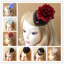Halloween Hat Hairpin 10 Color Vintage Black Lace Hair ClipTop  Fabric Flower Veil Headwear Hair Clip Small Hat Hair Accessories