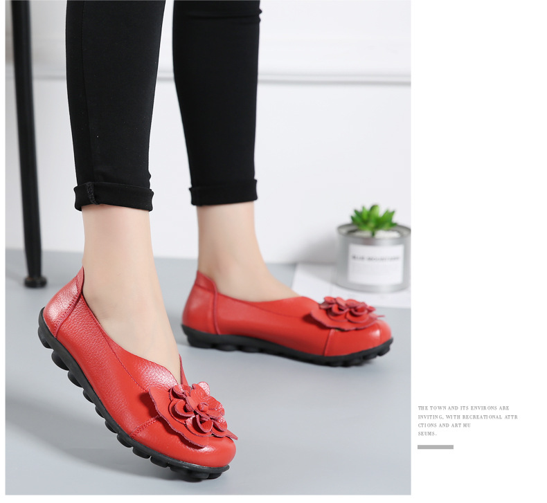 Women Real Leather Shoes Flower Moccasins Mother Loafers Soft Leisure Flats Casual Female Driving Ballet Footwear Women Shoes 21