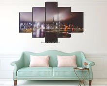 New Design Fashion 5 Pieces Set Evening City Light Landscape Printed Canvas Painting Living Room Wall Art Pictures Home Decor(China)