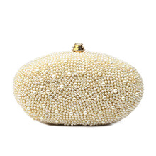 2017 Pearl Evening Bag Women Luxury Beading Day Clutch White Dinner Party Hand Bags Bridal Wedding Mini Purse Chain bolso XA59H