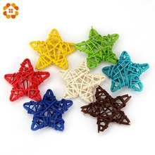 New Arrival!10PCS/Lot 6CM 10Colors Star Sepak Takraw For Christmas Birthday Party & Home Wedding Party Decoration Rattan Ball