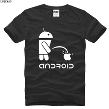 Summer Style Men T Shirts Android Robot Male t-shirt apple humor logo printed funny t shirt short sleeve Round Neck Ringer Tees(China)