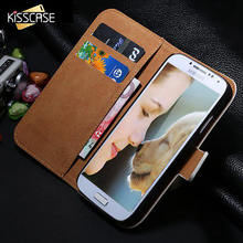 KISSCASE Luxury Retro Real  Leather Wallet Case for Samsung Galaxy SIV Mini i9190 Stand Flip Phone Accessories Cover for S4 Mini