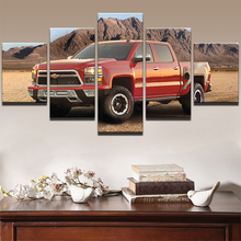 Modern Home Decor Boys Room HD Printed Canvas Pickup Truck Pictures Artworks 5 Pieces Red Chevrolet Car Painting Wall Art PENGDA