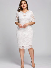 Gamiss Women Summer Elegant Plus Size V Neck Half Sleeve Lace Bodycon Dress Casual Party Midi Dress 2018 Fashion Big Size 5XL(China)