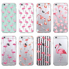 Cute Summer Tropical Tropic Flamingo Animal Soft Clear Phone Case Coque Fundas For iPhone 7 7Plus 6 6S 6Plus 5 8 8Plus X SAMSUNG(China)
