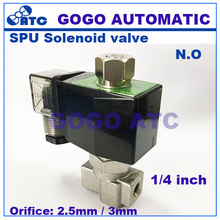 "GOGO 2 way stainless steel water normally open solenoid valve ss 1/4"" AC 220V Orifice 2.5mm/3mm zero-pressure start plug type(China)"