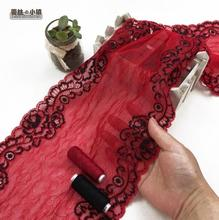 1 Meter Embroidered Red Flowers Elastic Lace Net Lace Trim Decoration Ribbon Sewing Handicrafts 22cm Width