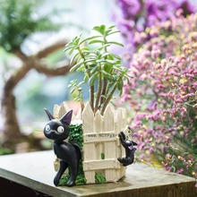 Creative Cartoon Black Cat White Fence Resin Cacti Succulent Flower Pot Indoor Desktop Decoration Plant Planter Garden Flowerpot(China)