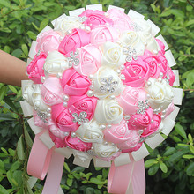 Sweety Pink&Hot Pink Ivory Satin Rose Stitch Bouquets Custom Ribbon Pearl Crystal Wedding Bridal Bouquet Flowers Custom W224A-4(China)