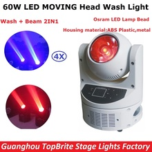 Factory Price 4Pcs/Lot LED Moving Head Wash Lights 60W High Power Osram Lamp LED Beam Moving Head Lights With LCD display