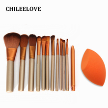 CHILEELOVE 12 Pcs Golden Makeup Brushes Kit + Cant Oblique Puff For Foundation Blending Blush Powder Eyeshadow Makeover Tool