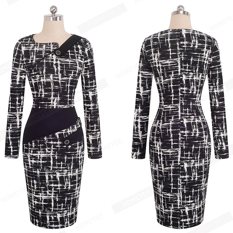 Black Dress Tunic Women Formal Work Office Sheath Patchwork Line Asymmetrical Neck Knee Length Plus Size Pencil Dress B63 B231 34