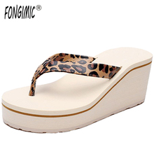 New summer Korea women breathable thick bottom flip flops ladies high heel no-slip sandals beach holiday comfortable slipper(China)