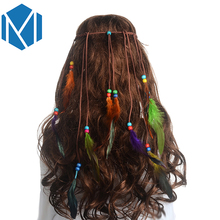 M MISM 2017 New Arrival 1pc Feather Beaded Headband Bohemian Style Women Feather Hair Bands Handmade Festival Hair Accessories