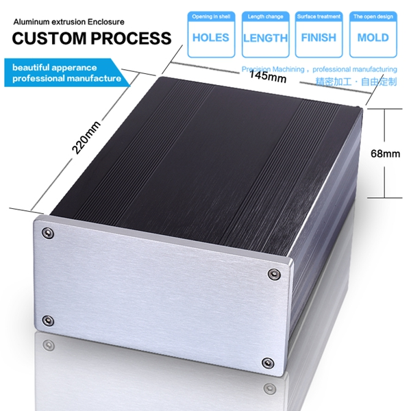 DIY custom 145*68*220mm(WxH-D) aluminum power audio amplifier<br>