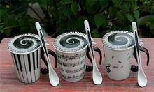 1PC Music Mug cup Staff Notes Piano Keyboard Ceramic Porcelain Mug Coffee Caneca with Cover Creative gift OK 0308