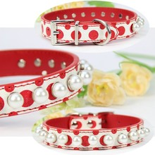 Leather Dog Collar Designer Red Pu Leather Material Pearl Decorative Personalized charm Puppy Large Studded Dog collar Wholesale(China)