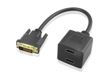DVI 24+1 Male To Dual HDMI Female Splitter Cable For PC Monitor HDTV connection