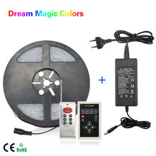 5M 12V IP67 Waterproof WS2811 ICs Magic Dream Color 5050 SMD LED Flexible RGB Strips light 30LED/m + RF Controller + Adapter