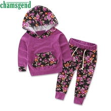 CHAMSGEND 2017 Baby Girls Children's Clothing Tracksuit Hoodies Tops Pants Set Long Sleeve Floral Kids Sports Costume Mar14