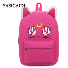 Harajuku Style Sailor Moon Canvas Backpacks for Teenage Girls School Bags Cute Fold Cat Book Bag Rucksack Brand Sac A Dos Femme