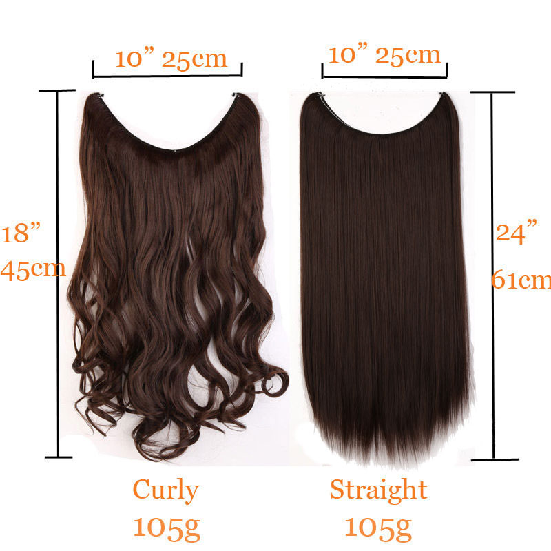 S-noilite Long 24″ Brown Synthetic Hair Fish Line Invisible Straight Hair Extension Heat Resistant Real natural Hair Piece