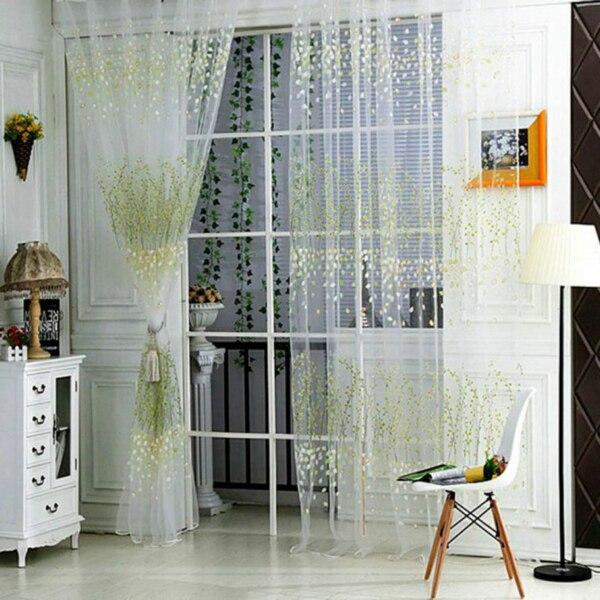 1 PC Tulle Door Window Curtain Drape Panel Sheer Scarf Valances (11)