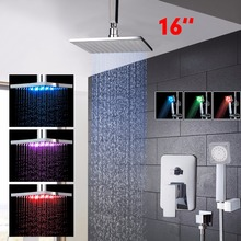 LED 16 Inch Brass Chrome Polished Shower Set Square Head Shower Hand Shower Rainfall  Wall Ceiling Mounted