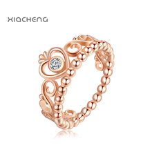 925 Sterling Gold Ring With Crystal Crown Fashion Ring For Women Wedding  with pandora rings Jewelry R26G