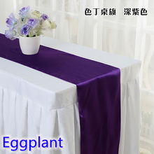 Eggplant colour high quality satin table runner wedding for linen table covers moderm party and wedding decoration wholesale(China)
