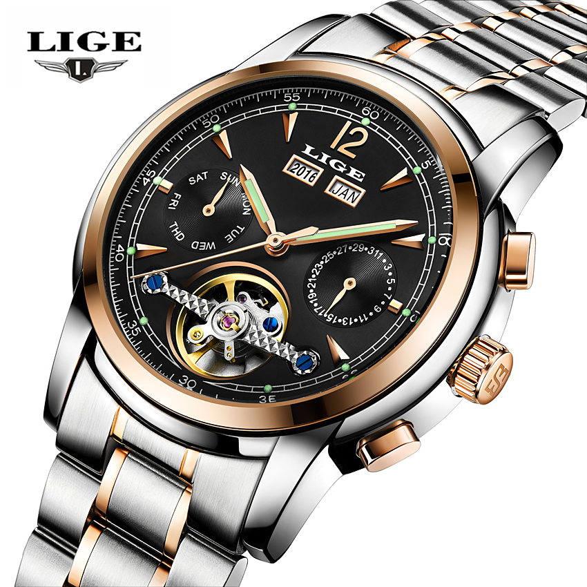 Relogios Masculino LIGE Skeleton Tourbillon Mechanical Automatic Watch Men Classic Full Steel Fashion sport WristWatcheMen Clock<br>